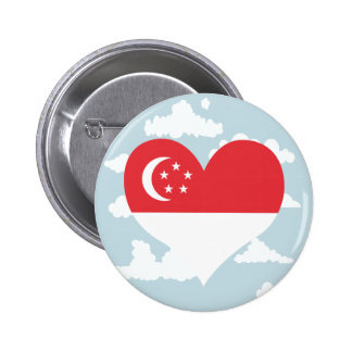Singaporean Flag on a cloudy background 2 Inch Round Button
