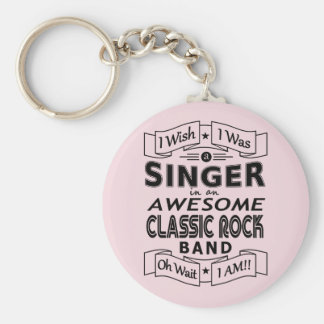SINGER awesome classic rock band (blk) Key Ring