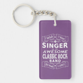 SINGER awesome classic rock band (wht) Key Ring