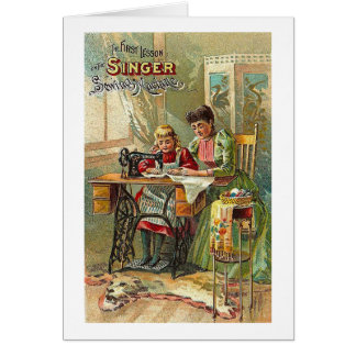 "Singer Sewing Machine Ad ""The First Lesson"" Card"