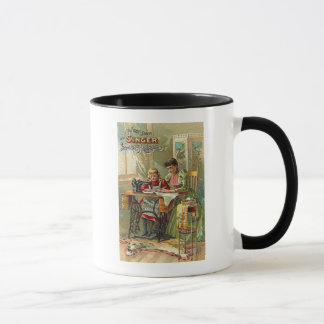"""Singer Sewing Machine Ad """"The First Lesson"""" Mug"""