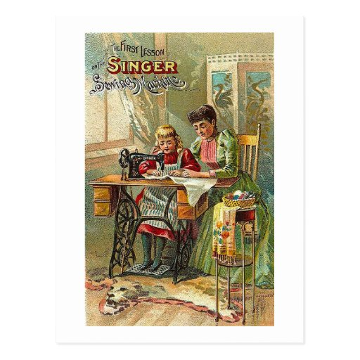 """Singer Sewing Machine Ad """"The First Lesson"""" Postcard"""