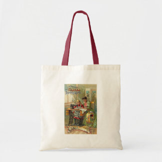 "Singer Sewing Machine Ad ""The First Lesson"" Budget Tote Bag"