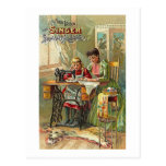 """Singer Sewing Machine """"The First Lesson"""" Victorian Postcard"""