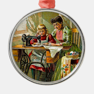 "Singer Sewing Machine ""The First Lesson"" Vintage Christmas Ornament"