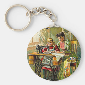"Singer Sewing Machine ""The First Lesson"" Vintage Key Ring"