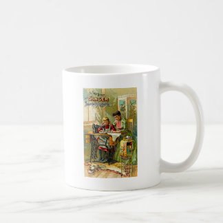 """Singer Sewing Machine """"The First Lesson"""" Vintage Classic White Coffee Mug"""