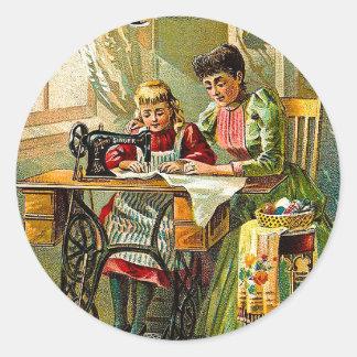 "Singer Sewing Machine ""The First Lesson"" Vintage Round Sticker"