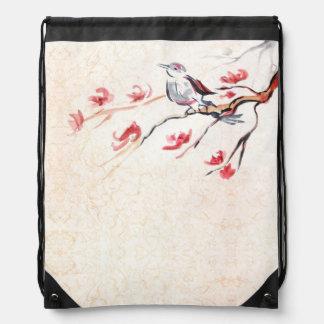 Singing Bird Background Drawstring Bag