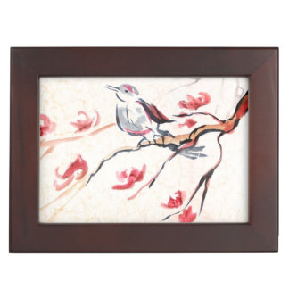 Singing Bird Background Keepsake Box