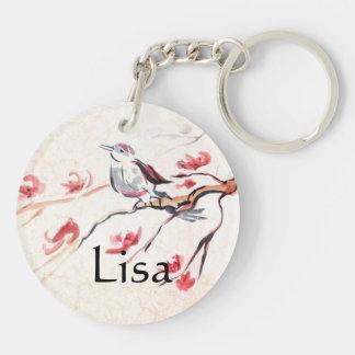 Singing Bird Background Key Ring