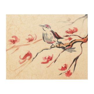Singing Bird Background Wood Canvases