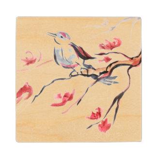 Singing Bird Background Wood Coaster