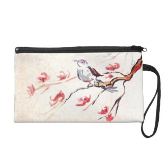 Singing Bird Background Wristlet