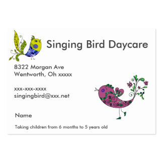 Singing Bird Daycare Large Business Cards (Pack Of 100)