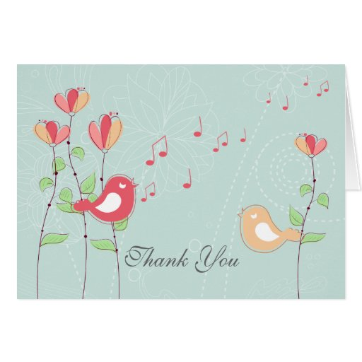 Singing Birds with Flowers Wedding Thank You Greeting Card