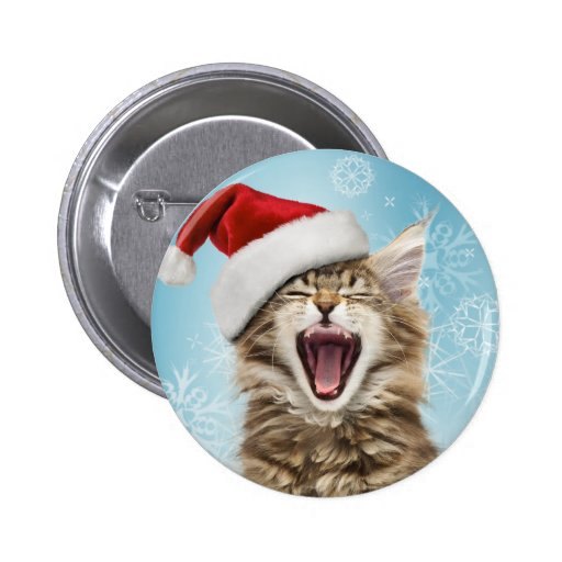 Singing Cat Christmas Button