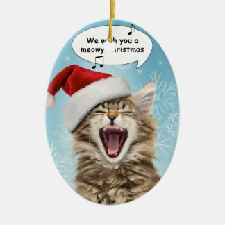 Singing Cat Christmas Ornament