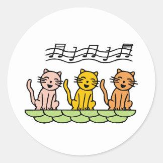Singing Cat Classic Round Sticker