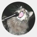 Singing cat round sticker