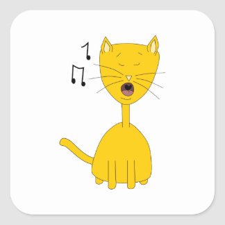 Singing Cat. Square Sticker