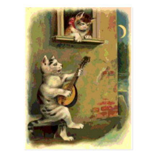Singing Cat, vintage style Postcard