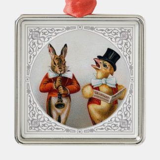Singing Chicken and Horn-Blowing Bunny Silver-Colored Square Decoration