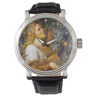 SINGING CHRISTMAS ANGEL MAKING MUSIC ,PINK GEMS WATCHES