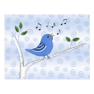 Singing Cute Blue Bird Postcard