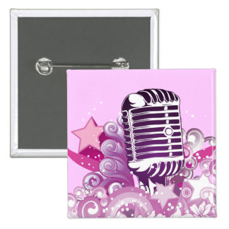 singing diva vintage microphone vector 15 cm square badge