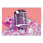 singing diva vintage microphone vector cards