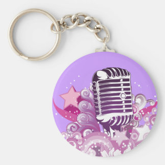 singing diva vintage microphone vector basic round button key ring