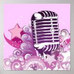 singing diva vintage microphone vector posters