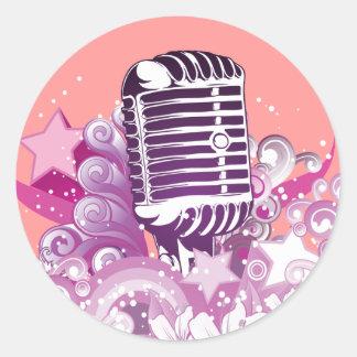 singing diva vintage microphone vector round sticker