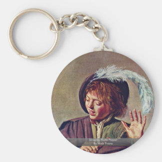 Singing Flute Player By Hals Frans Basic Round Button Key Ring