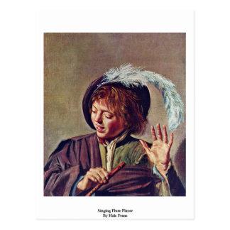 Singing Flute Player By Hals Frans Postcard
