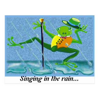 Singing in the rain... postcard