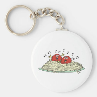 singing meatballs on spaghetti basic round button key ring