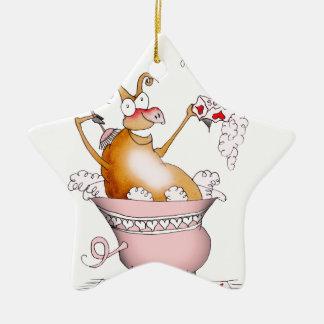 singing pig, tony fernandes ceramic star decoration