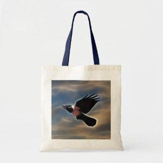 Singing raven in flight