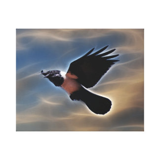 Singing raven in flight gallery wrap canvas