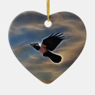 Singing raven in flight christmas ornament