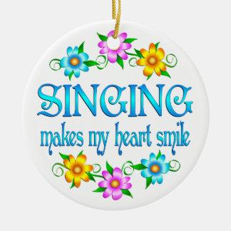 Singing Smiles Round Ceramic Decoration