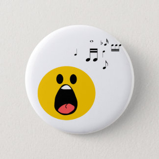 Singing smiley 6 cm round badge