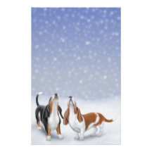 Singing Snow Bassets Stationery