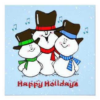"Singing Snowmen Christmas Invitation 5.25"" Square Invitation Card"