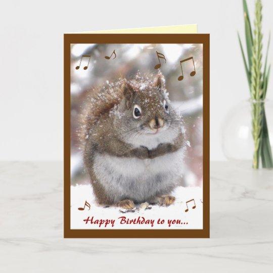 Singing Squirrel Birthday Card Zazzle