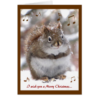 Singing Squirrel Christmas Greeting Card
