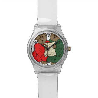Singing Teddy Bear Angels is Red and Green Robes Wristwatch