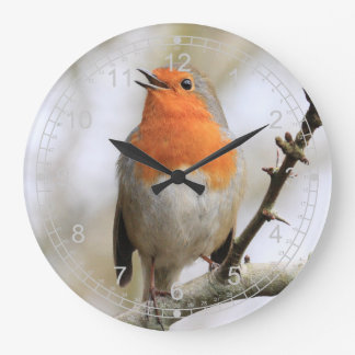 Singing Winter Robin Large Clock